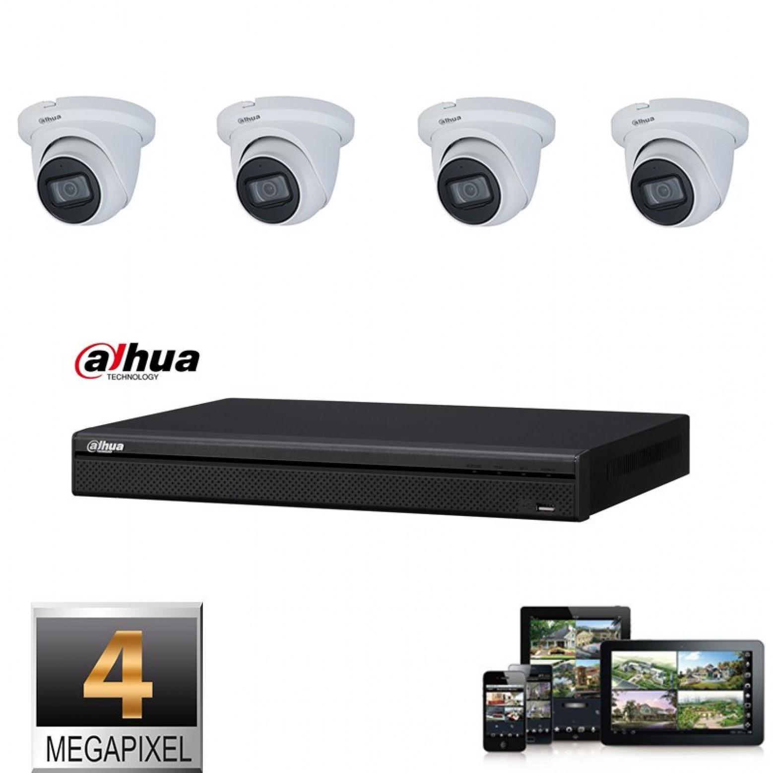 Dahua IP camera set 4x dome 4 megapixel Full HD