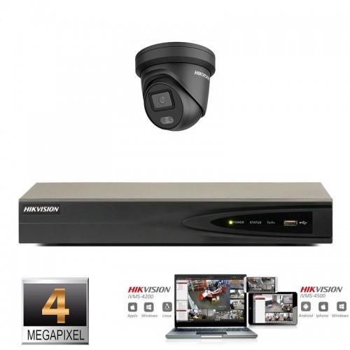 Hikvision IP ColorVu camera set  zwart 1x turret 4 megapixel Full HD met ingebouwde microfoon