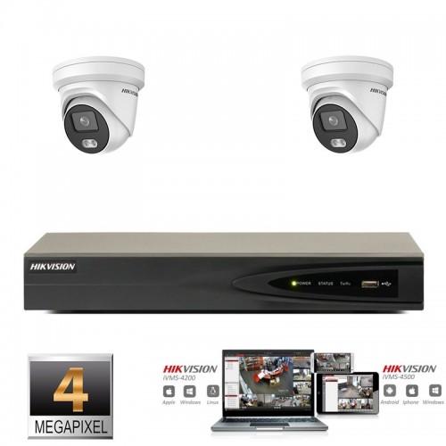 Hikvision IP ColorVu camera set 2x turret 4 megapixel Full HD