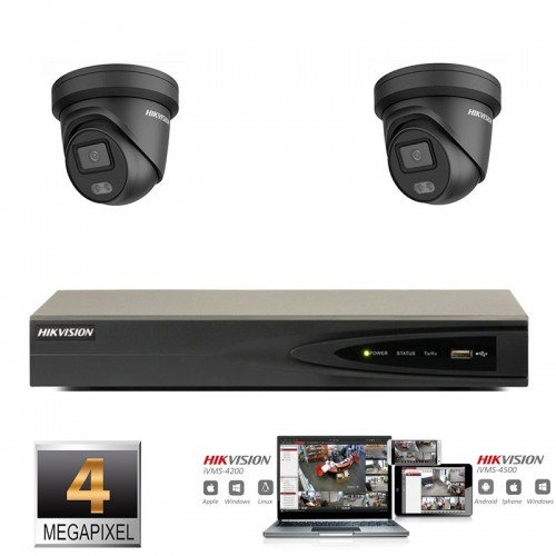 Hikvision IP ColorVu camera set  zwart 2x turret 4 megapixel Full HD met ingebouwde microfoon