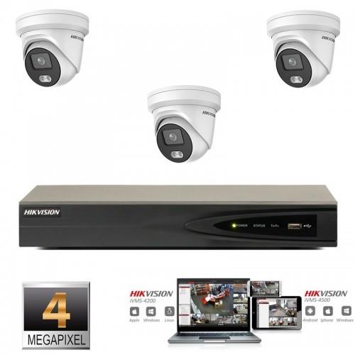 Hikvision IP ColorVu camera set 3x turret 4 megapixel Full HD