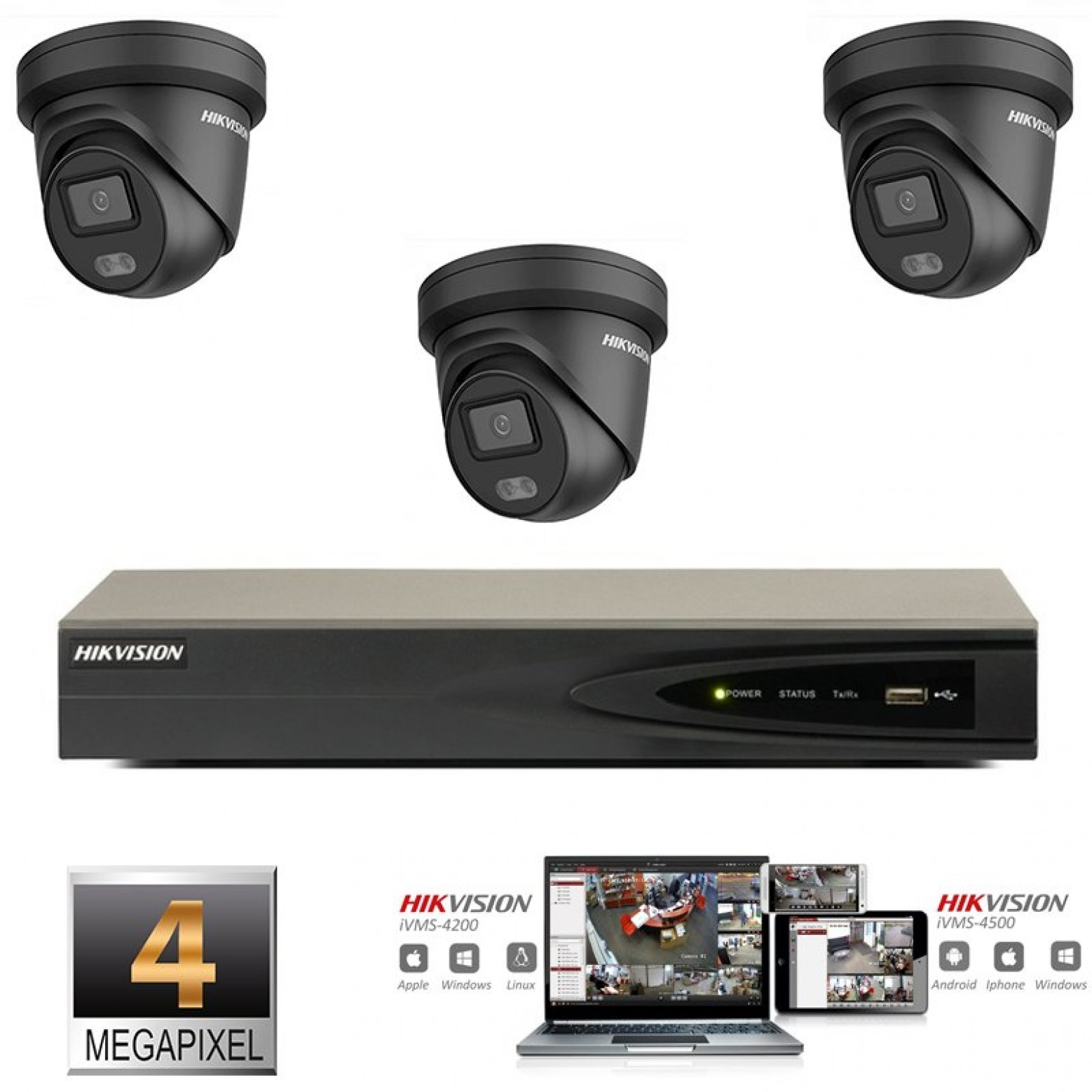 Hikvision IP ColorVu camera set  zwart 3x turret 4 megapixel Full HD met ingebouwde microfoon