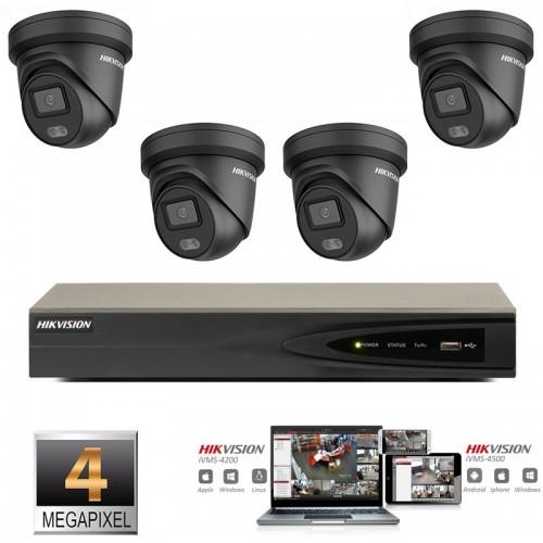 Hikvision IP ColorVu camera set  zwart 4x turret 4 megapixel Full HD met ingebouwde microfoon