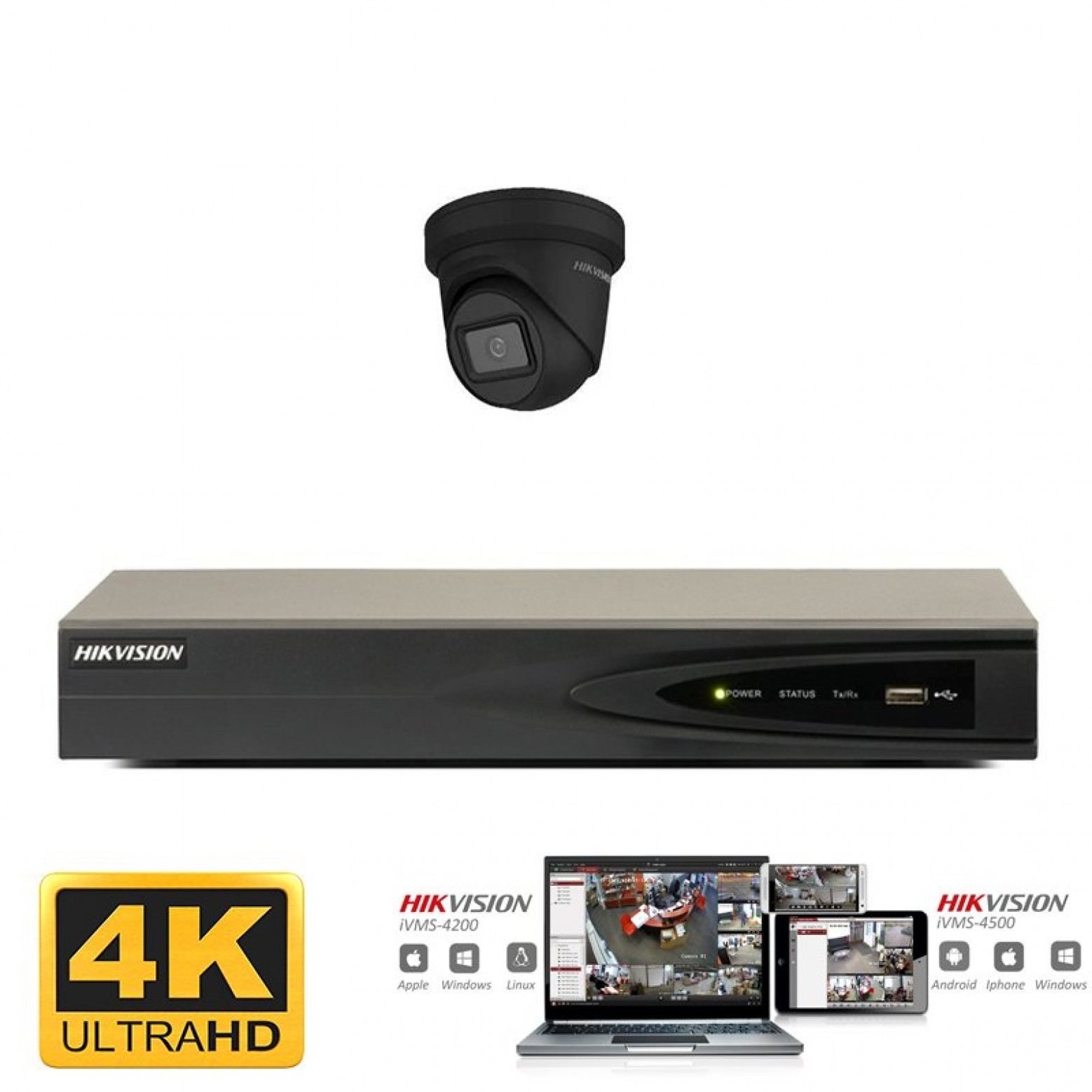 Hikvision IP camera set 1x turret zwart 8 megapixel (4K) Full HD