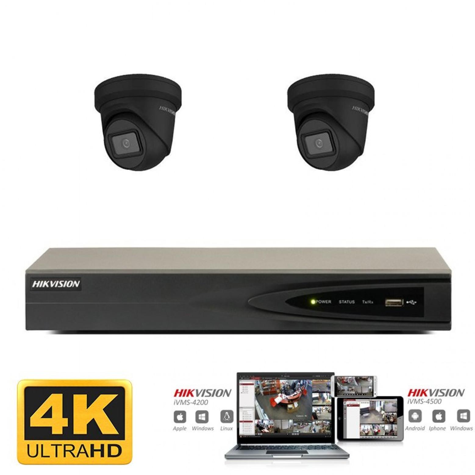 Hikvision IP camera set 2x turret zwart 8 megapixel (4K) Full HD