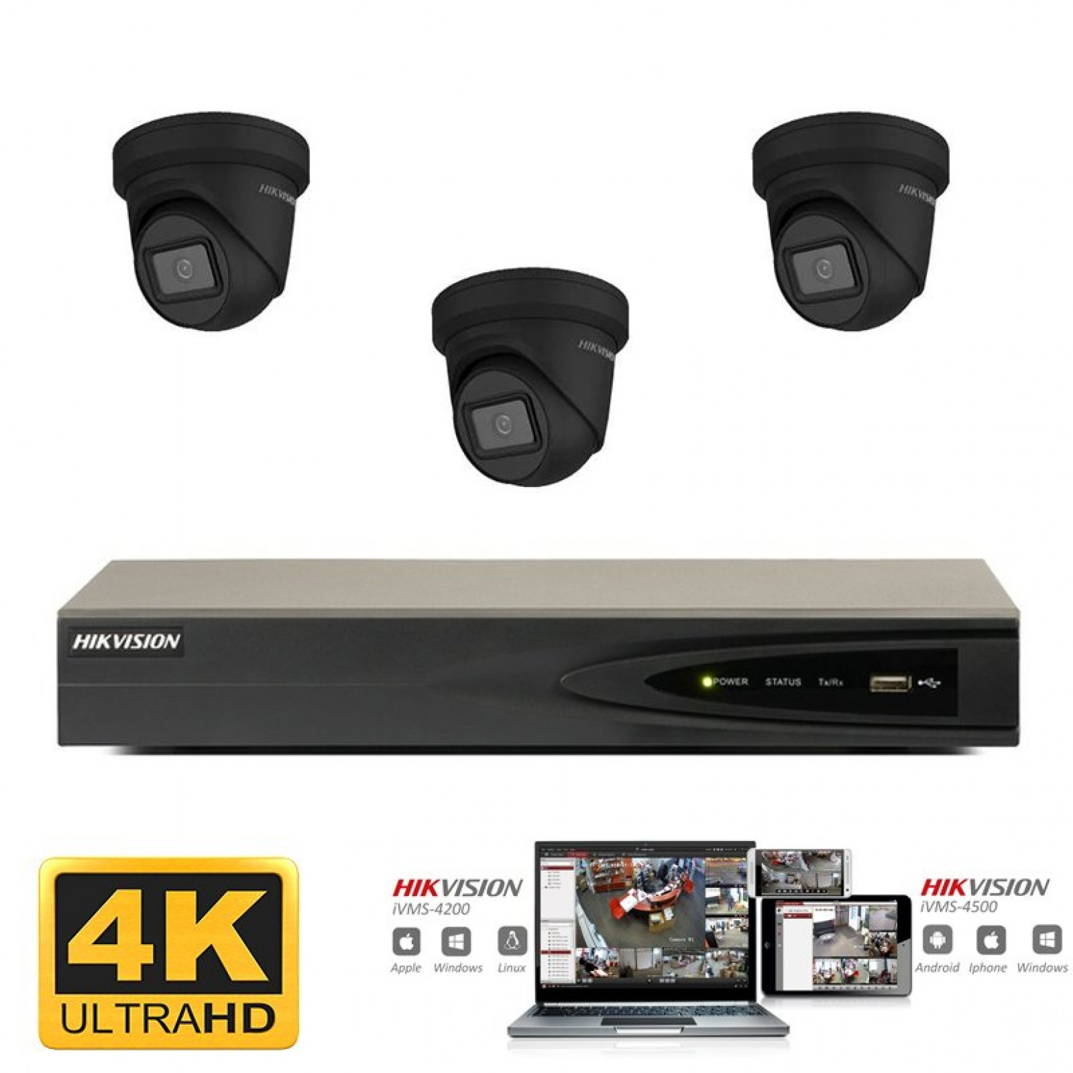 Hikvision IP camera set 3x turret zwart 8 megapixel (4K) Full HD