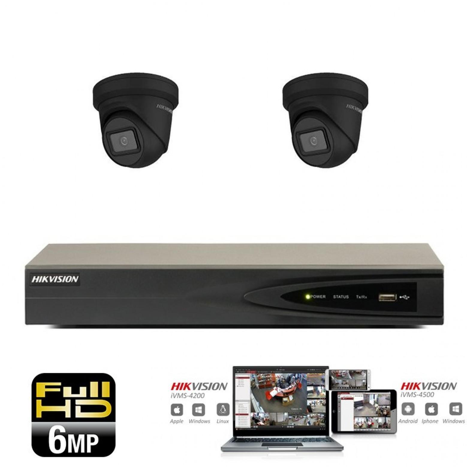 Hikvision IP camera set 2x turret 6 megapixel Full HD